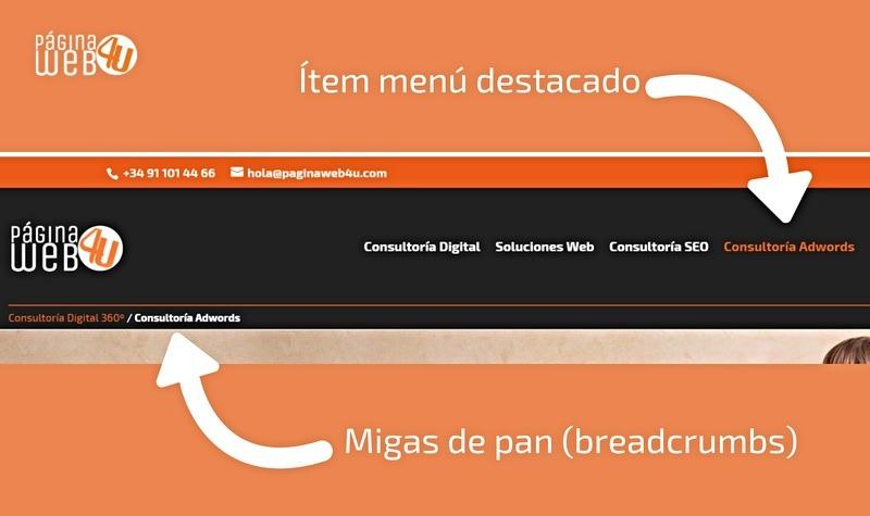 usabilidad web migas de pan