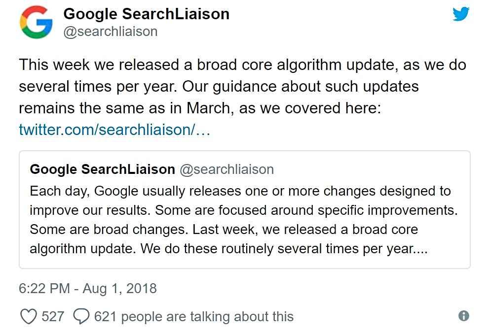 Comunicación oficial del cambio de algoritmo de Google