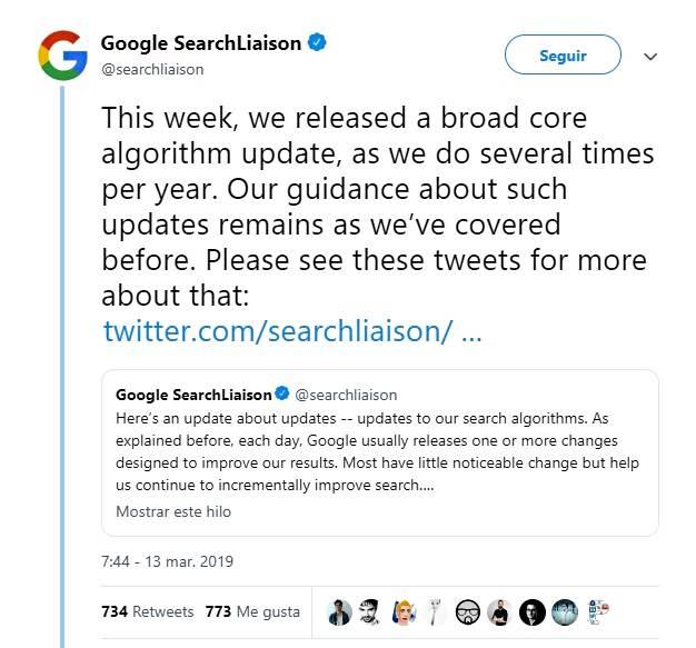 Actualización del core de Google